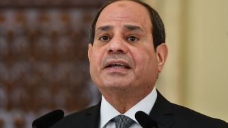 Egypt's President Abdel Fattah al-Sisi gives a statement on the sidelines of his meeting with his Romanian counterpart at the Cotroceni Palace in Bucharest on June 19, 2019