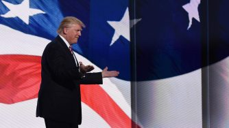 Donald Trump alla convention repubblicana di Cleveland il 20 luglio del, 2016 (LaPresse)