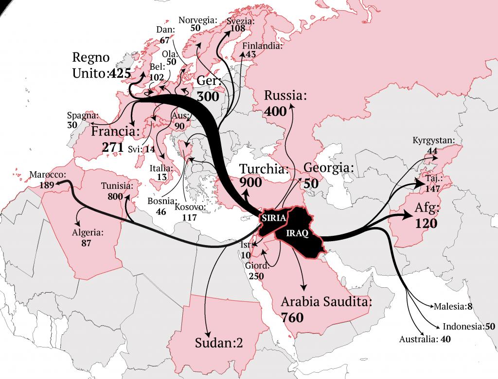 I foreign fighter, возвращение (Инфографика Альберто Bellotto)