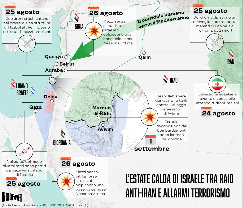 I raid di Israele in Siria e Libano, nell'estate 2019 (Infografica di Alberto Bellotto)