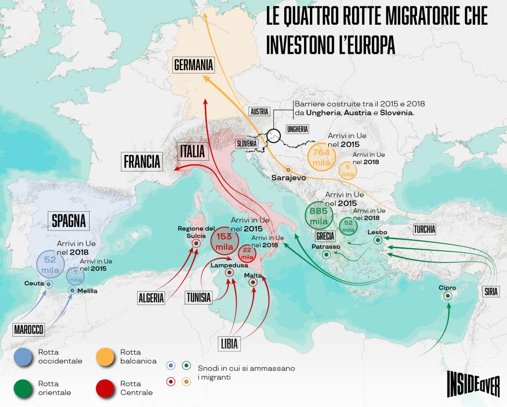 Le rotte dei migranti per raggiungere l'Europa (Infografica di Alberto Bellotto)