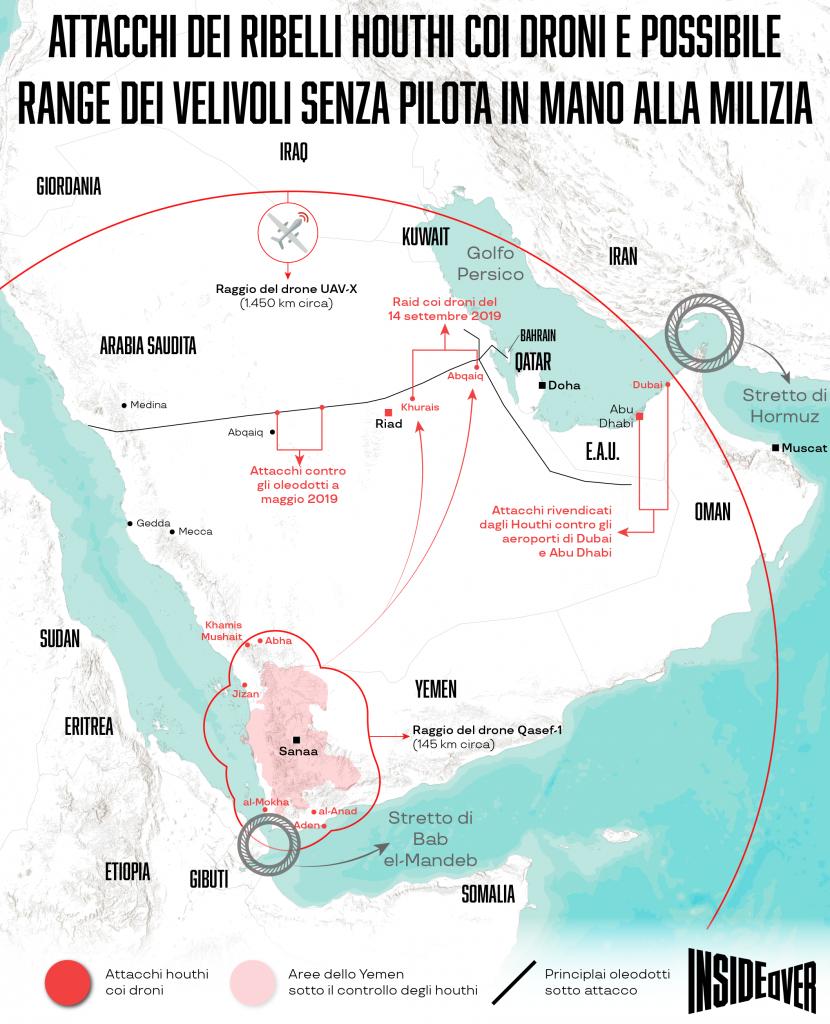 I raid degli Houthi contro l'Arabia Saudita (Infrografica di Alberto Bellotto)