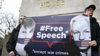 Assange protests