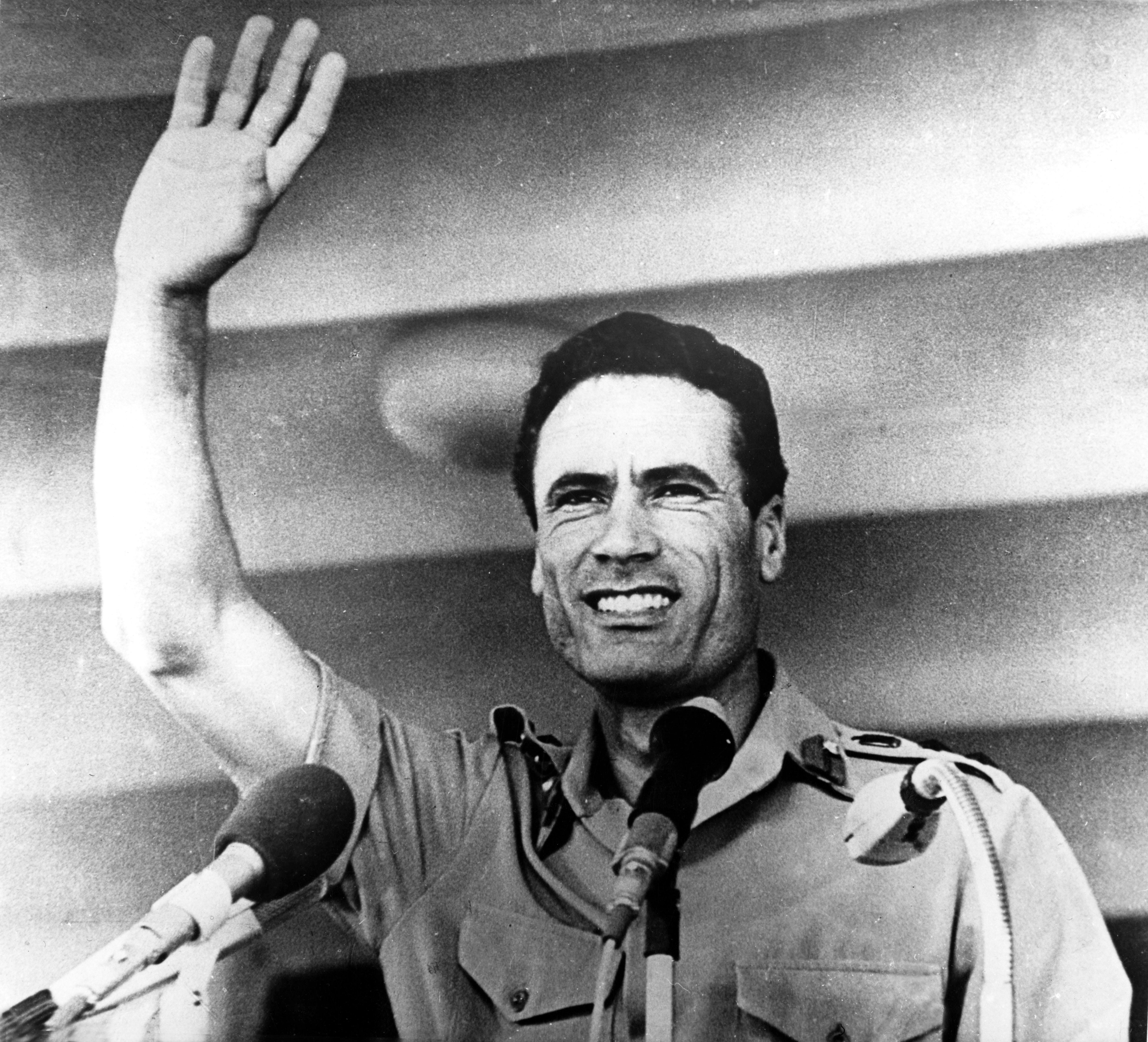 Una foto scattata al colonnello Muammar Gheddafi, scattata il 14 luglio 1972 (LaPresse)