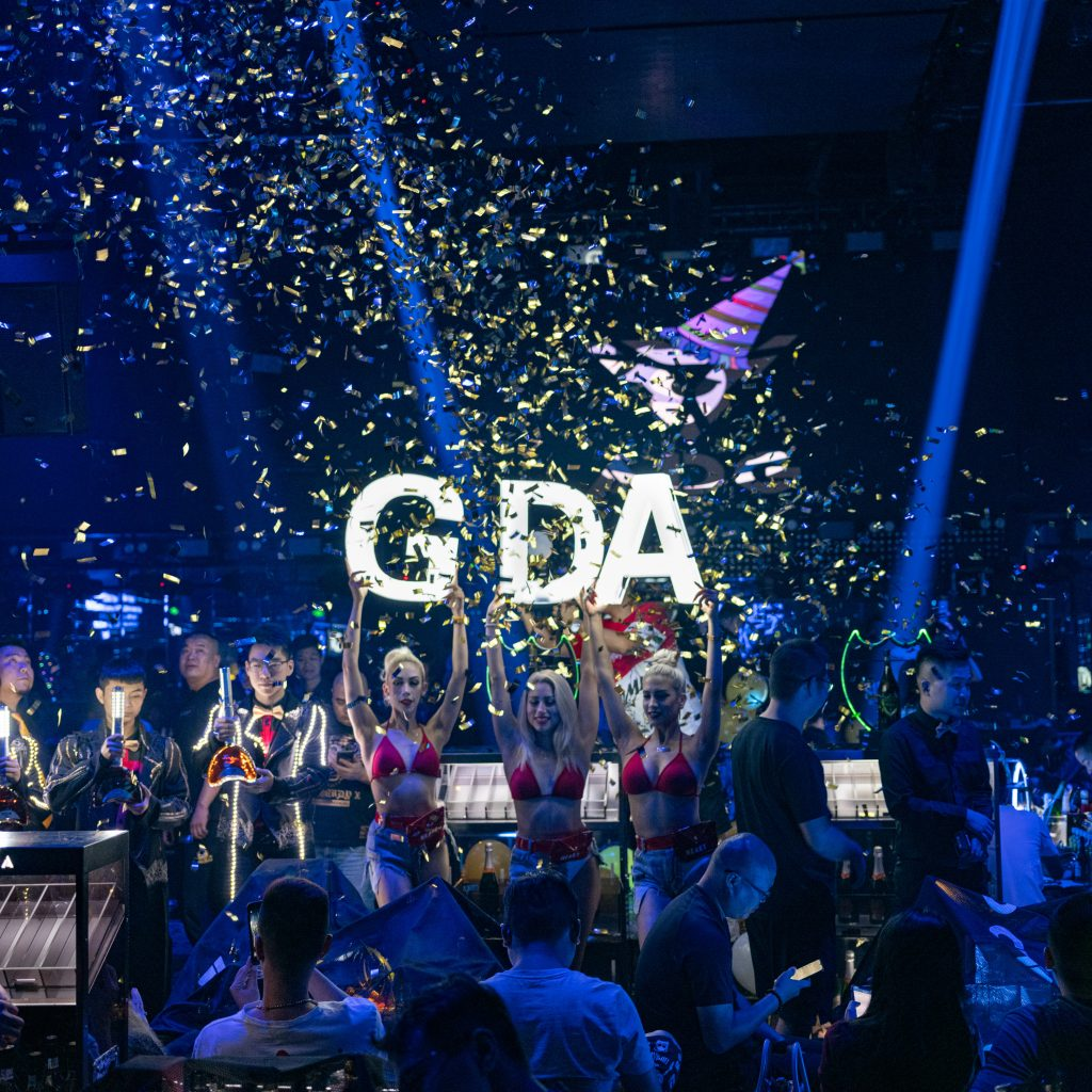 An anniversary celebration at a club in Wuxi. Entertainment and nightlife increasingly resembles Western entertainment and nightlife