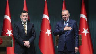 Erdogan e Sarraj in Turchia (La Presse)