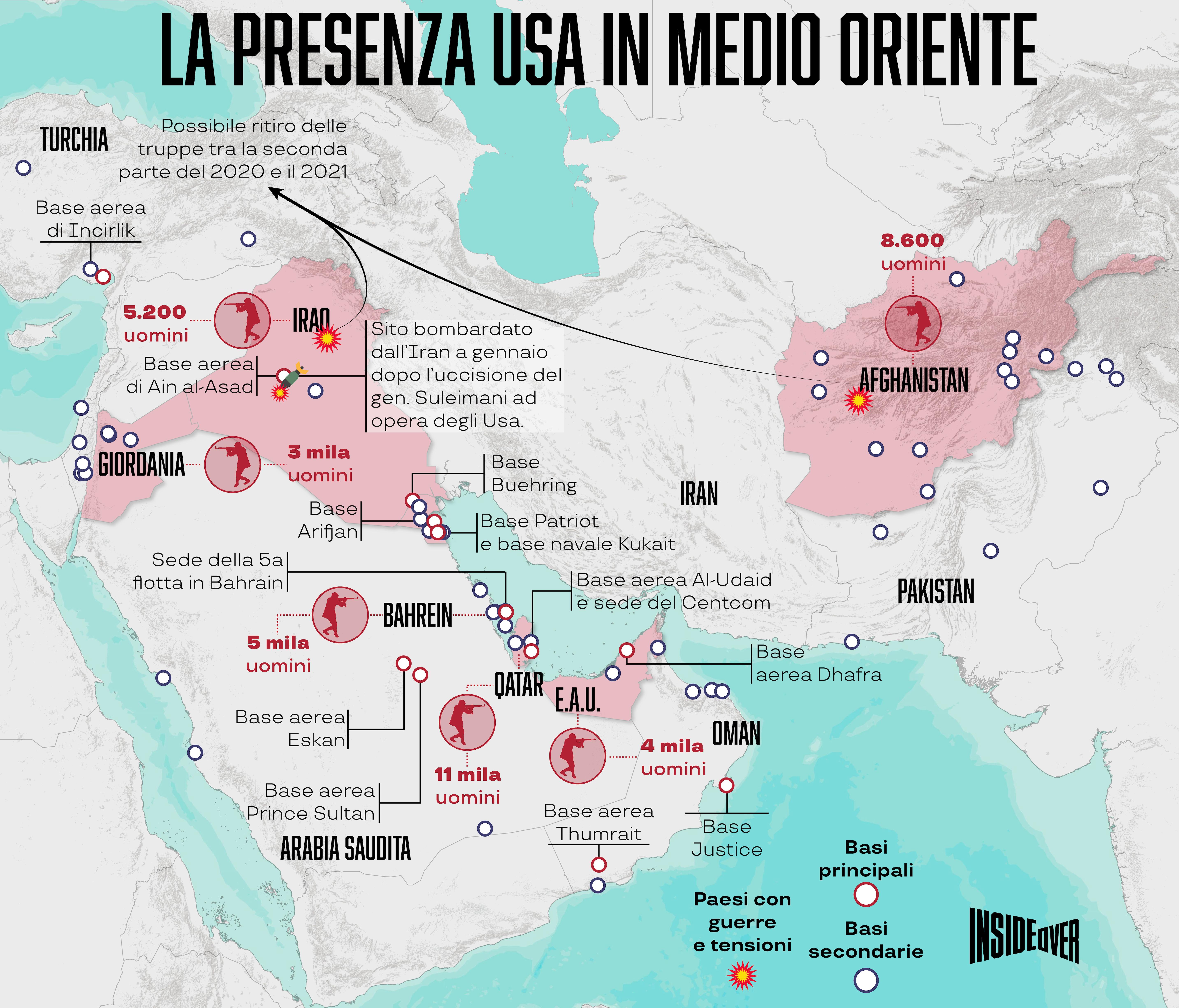 basi militari usa medio oriente mappa