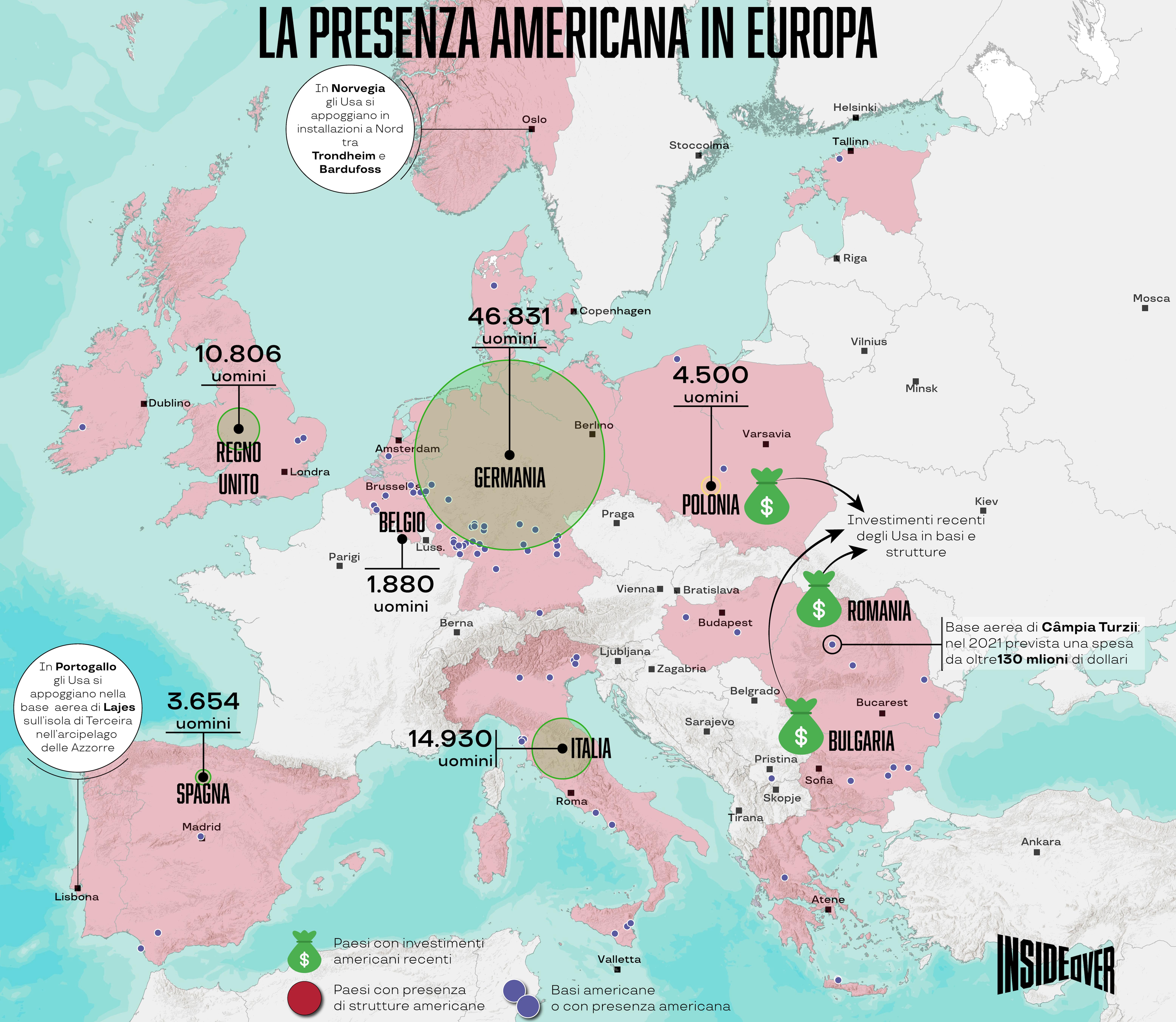 basi usa europa mappa