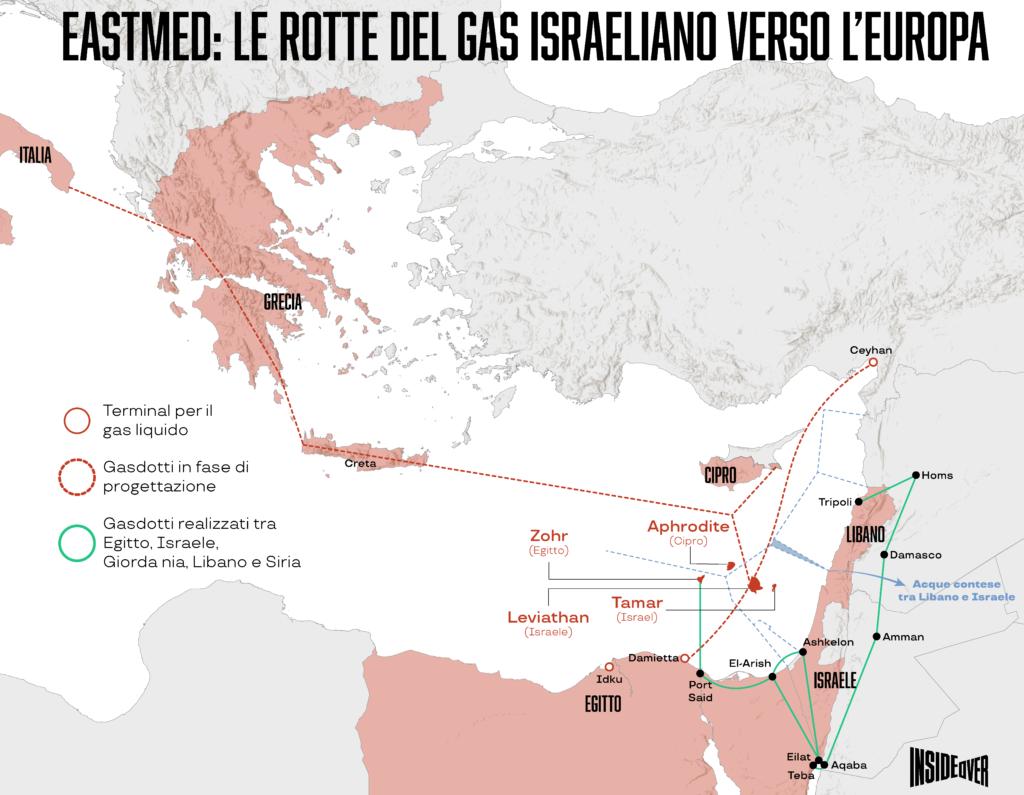 mappa eastmed israele