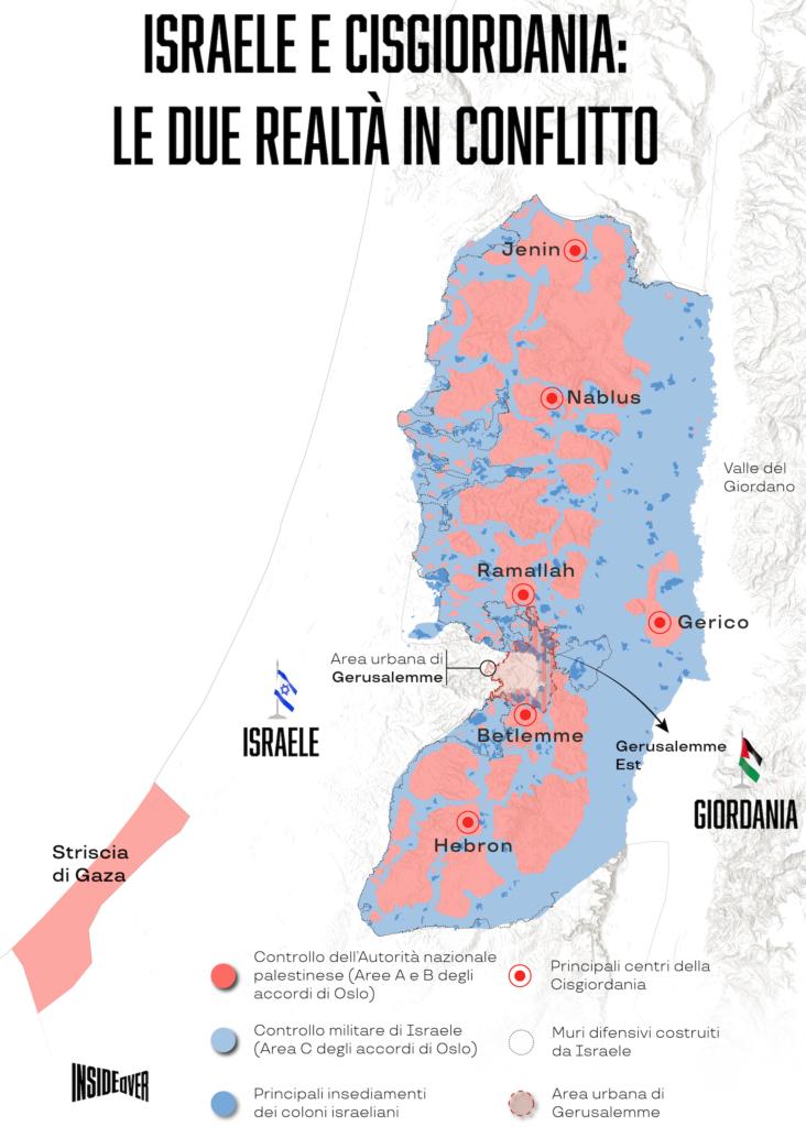 palestina e Israele mappa