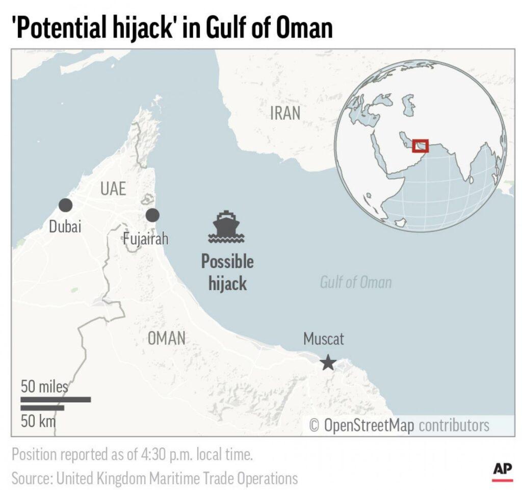 Mappa del potenziale dirottamento nel golfo dell'Oman (La Presse)